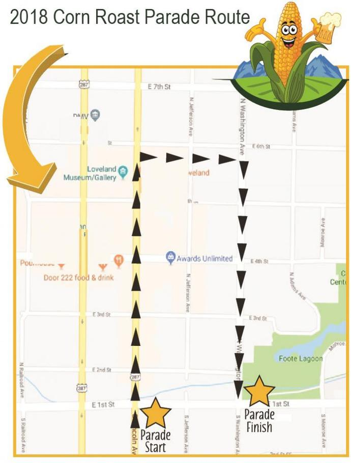 2018 Corn Roast Festival Parade Route